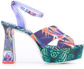 Sophia Webster printed platform sandals - women - Leather/Other fibres/Silk Satin - 35