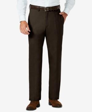 Haggar J.m. Sharkskin Classic-Fit Flat Front Hidden Expandable Waistband Dress Pants