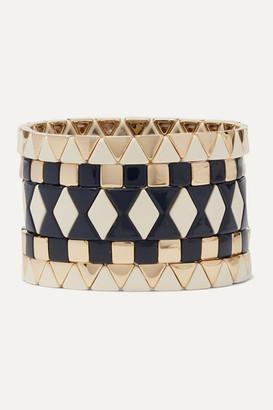 Roxanne Assoulin Suit Yourself Set Of Five Gold-tone And Enamel Bracelets