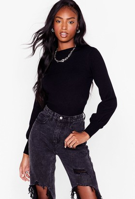 Nasty Gal Womens Knit Just Got Interesting Balloon Sleeve Sweater - Black