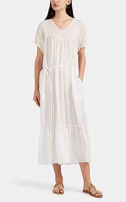 Raquel Allegra Women's Sweetheart Cotton Mesh & Silk Satin Shift Dress - White