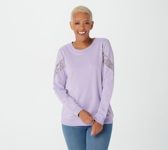 Denim & Co. Active French Terry Long-Sleeve Top w/ Lace Detail