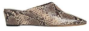 Vince Women's Baxley Snake-Embossed Leather Wedge Mules