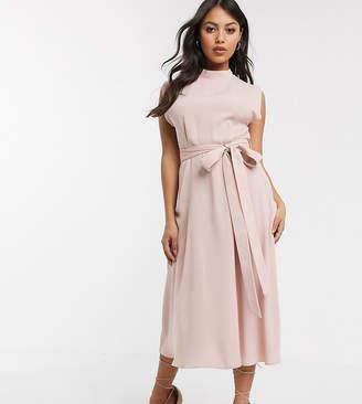 Asos DESIGN Petite split cap sleeve high neck midi dress with skater skirt
