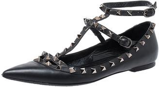 Valentino Black Leather Rockstud Cage Ballet Flats Size 38