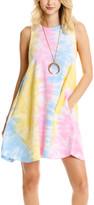 Lagaci Women's Casual Dresses BUBBLE - Bubble Gum Tie-Dye Sleeveless Pocket Shift Dress - Women