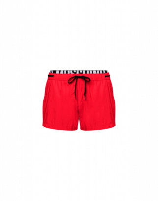 Moschino Elastic Band Fluo Beach Boxer Man Red Size S It - (xs Us)