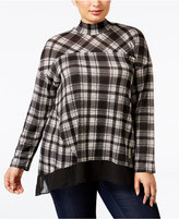 Style&Co. Style & Co Plus Size Plaid Chiffon-Hem Top, Only at Macy's