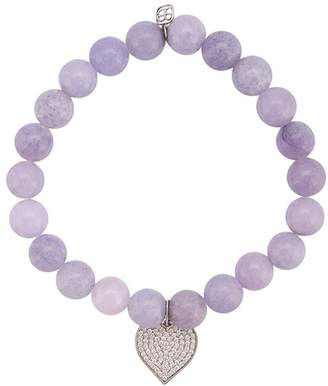 Sydney Evan 14kt white gold diamond heart charm bracelet