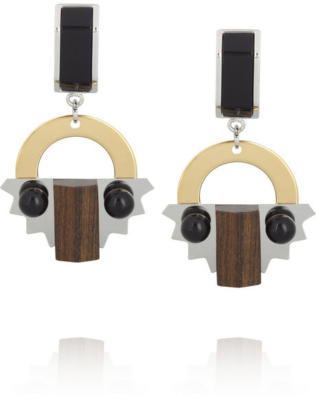 Marni Wood, resin and metal drop clip earrings