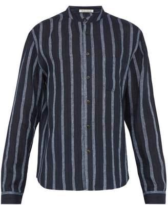 Denis Colomb Raj Mandarin Collar Striped Linen Shirt - Mens - Navy Multi