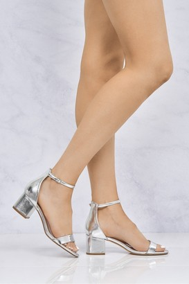 Miss Diva Karley Barely There Ankle Strap Block Heel Sandal In Silver Matt