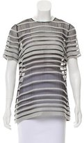 Lyn Devon Semi-Sheer Striped Top