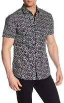 Slate & Stone Star Patterned Short Sleeve Trim Fit Shirt