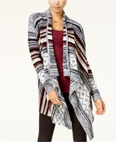 Almost Famous Juniors' Asymmetrical-Hem Jacquard Cardigan