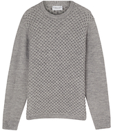 Jigsaw Alpaca Blend Lattice Crew Neck, Silver
