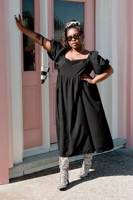 Nasty Gal Womens Don't Smock Me Plus Midi Dress - Black