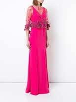 Marchesa floral shawl evening dress