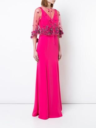 Marchesa Notte Floral Shawl Evening Dress