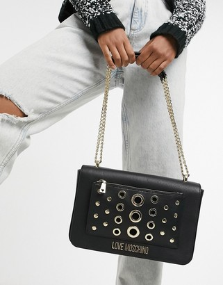 Love Moschino eyelet shoulder bag with chain strap in pink