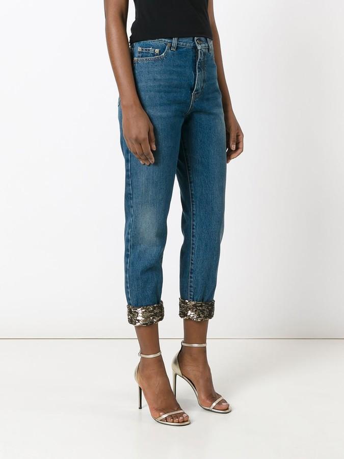 Saint Laurent sequin turn-up jeans