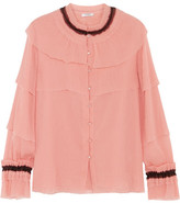 Vilshenko Caterina Ruffled Crinkled Silk-chiffon Blouse - Blush