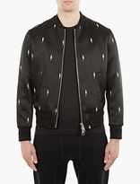 Neil Barrett Black Satin Lightning Bolt Bomber Jacket