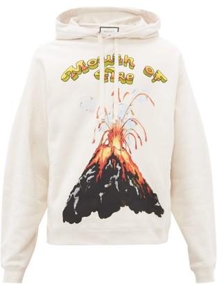 Gucci Volcano Print Cotton Hooded Sweatshirt - Mens - White
