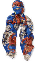 Gucci Tiger-Print Modal and Silk-Blend Scarf