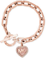 Michael Kors Rose Gold-Tone Pavé Logo Heart Toggle Bracelet