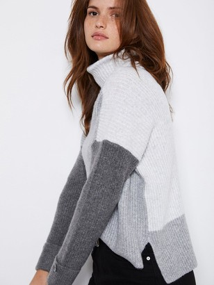 Mint Velvet Chunky Blocked Knit - Grey