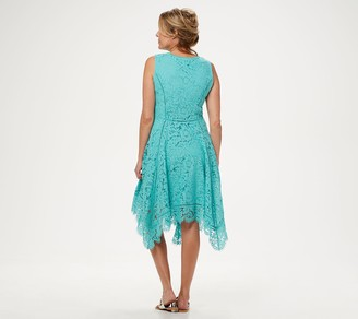 Isaac Mizrahi Live! Petite Handkerchief Hem Floral Lace Midi Dress