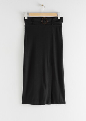 And other stories Tortoise Buckle Midi Slit Skirt