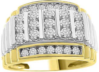 FINE JEWELRY Mens 1 CT. T.W. Genuine White Diamond 10K Two Tone Gold Wedding Fashion Ring