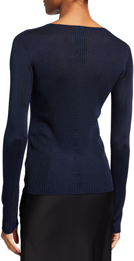 Thumbnail for your product : Giorgio Armani V-Neck Ribbed Silk Sweater, Blue
