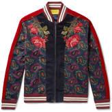 Gucci Slim-Fit Appliquéd Velvet And Paisley-Print Jersey Bomber Jacket
