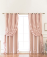 Best Home Fashion Dusty Pink Tulle & Blackout Curtain Panel - Set of Four