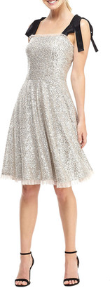 Gal Meets Glam Waterfall Sequin Tie-Shoulder Fit-&-Flare Dress