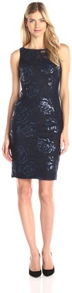 Adrianna Papell Women's Sequin Embroidered Floral Tulle Sheath