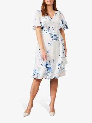 Studio 8 Sarah Floral Print Knee Length Dress, Blue/Multi