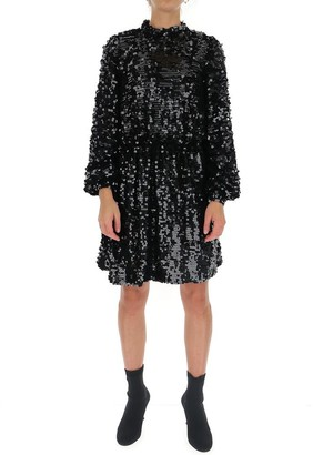MSGM Backless Embellished Skater Dress