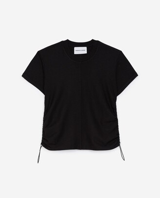 The Kooples Black cotton T-shirt with gathering