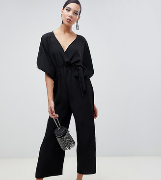 Asos Tall DESIGN Tall kimono sleeve jumpsuit with wrap and culotte leg-Purple