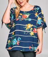 Tua Navy Floral Stripe Sleeve-Tie Top - Plus