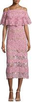 Elie Saab Off-the-Shoulder Lace Popover Midi Dress, Pink