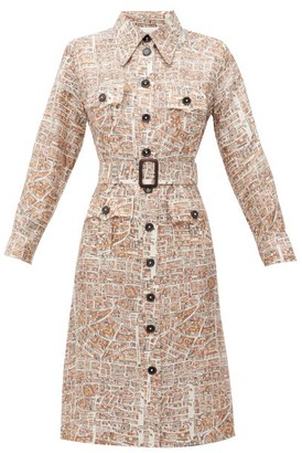 La Prestic Ouiston Lou Lou Carte De Paris-print Silk-twill Dress - White Multi