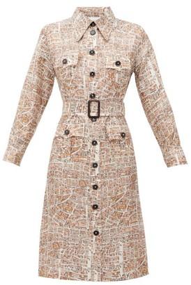 La Prestic Ouiston Lou Lou Carte De Paris-print Silk-twill Dress - Womens - White Multi