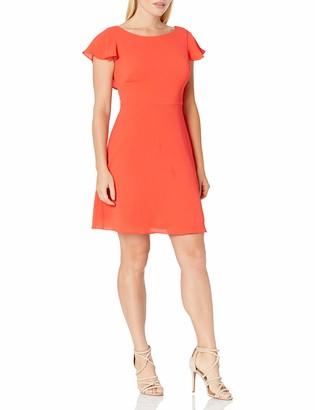 London Times Women's Plus Size Short Sleeve Round Neck Crepe Fit & Flare Dress