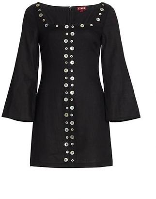 STAUD Chiara Linen Button Bell-Sleeve Mini Shift Dress