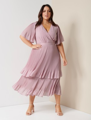 Forever New Morgan Curve Tiered Wrap Dress - Dusty Blush - 16